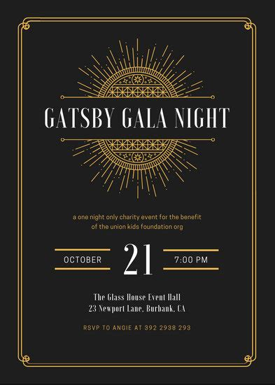 customize  great gatsby invitation templates  canva