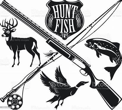 Hunting Fishing Vector Emblem Deer Label Fish