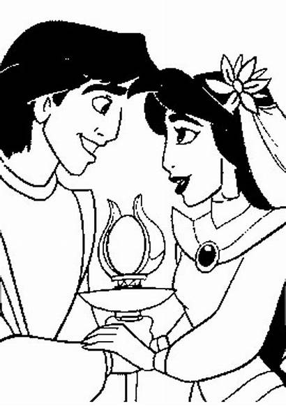 Coloring Disney Jasmine Princess Pages Aladdin Valentine