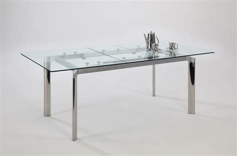 contemporary clear glass and chrome extendable dining