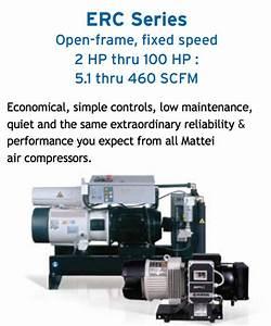 Mattei 10 Hp Rotary Vane Air Compressors  43 Cfm  208