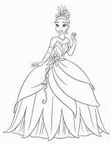 Princess Coloring Tiana Printable Disney Princesse Coloriage Frog sketch template