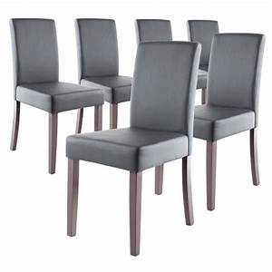 Clara lot de 6 chaises de salle a manger grises achat for Chaises de salle a manger