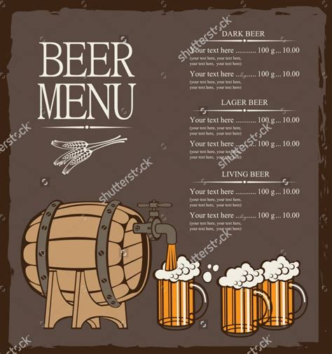 beer menu template   psd eps documents