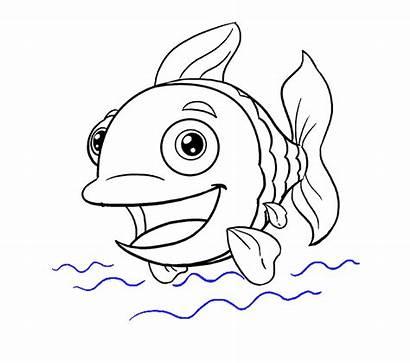 Fish Draw Cartoon Drawing Step Easy Line