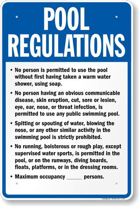 Nebraska Swimming Pool Rules Signs