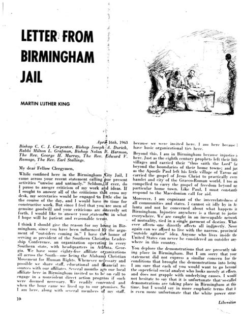 summary of letter from birmingham letter from a birmingham by martin luther king jr 24996