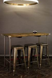 Industrial Reclaimed Vintage Style Tables Wooden Topped Bars With Steel Pipe Bases Decorao