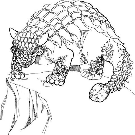 Kleurplaat Spinosaurus by Ankylosaurus Stand At The Edge Of The Cliff Coloring Page