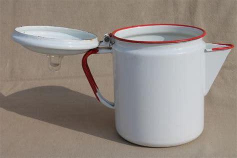 vintage red white enamelware coffee pot red band enamel primitive farm kitchen cookware