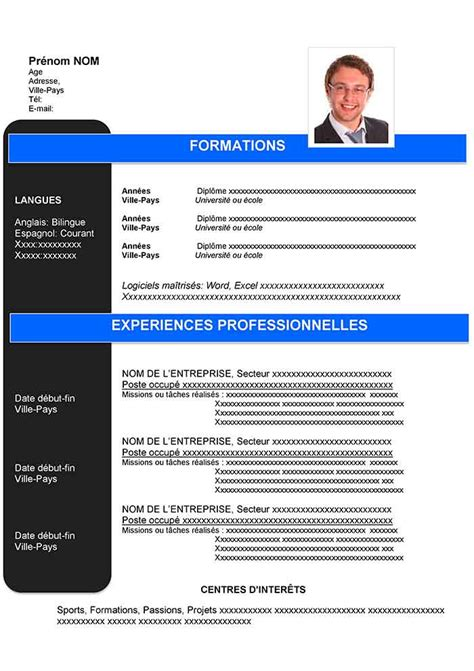 Modele Cv Gratuit by Modele Cv Simple Gratuit A Telecharger Word