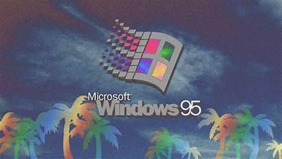 Vaporwave Windows 95 Microsoft Palm Trees Desktop
