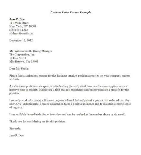 formal business letter format official sample template