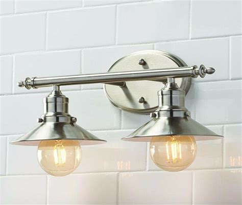 Bathroom Vanity Light Fixture by Home Decorator 2 Light Brushed Nickel Retro Bathroom Wall