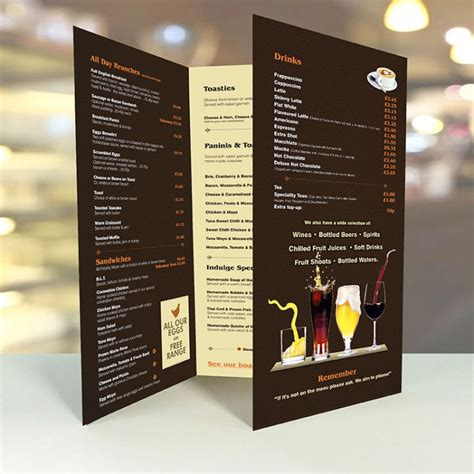 Restaurant Table Menu by Large A2 Table Menus Creased 3xa4 Menus Laminated