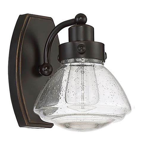 brown glass l shade buy quoizel scholar 1 light wall mount bath fixture in