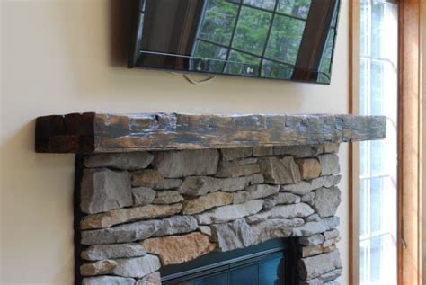 hand crafted reclaimed beam mantle  larue woodworking