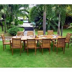 Grande Table De Jardin : salon de jardin grande table et fauteuils en teck huil wood en stock ~ Teatrodelosmanantiales.com Idées de Décoration