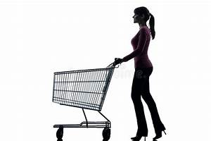 Woman With Empty Shopping Cart Silhouette Stock Image ...