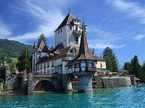 Castle In Spiez On The Shores Of Lake Thun Near Interlaken