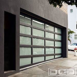 Modern Architectural Garage Door With a Sloping Bottom