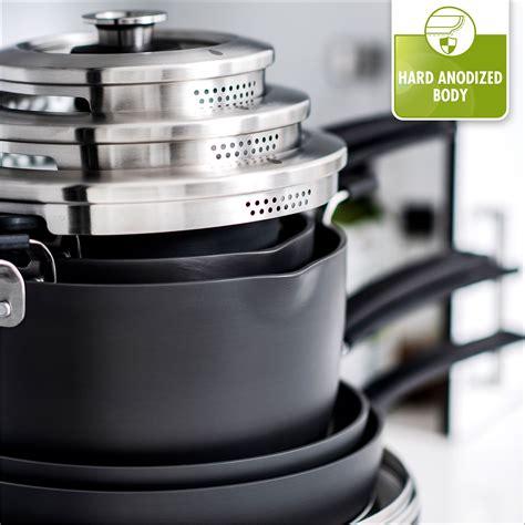 greenpan levels stackable nonstick cookware set  piece cutlery