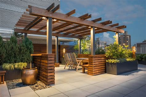 pleasant rooftop terrace design with stunning city views