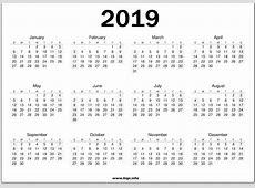 Free Blank Calendar Printable 2019 PDF, Excel, Word