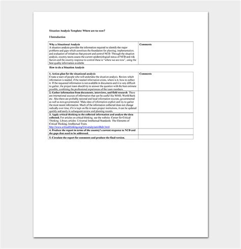 situation analysis template  samples examples