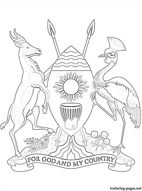 uganda coat  arms coloring page coloring pages