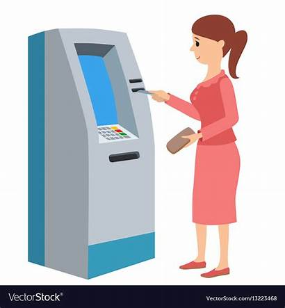 Atm Machine Using Vector Woman Royalty