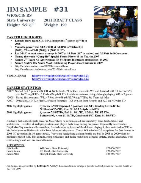 best photos of athlete bio template football player