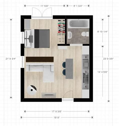 ftxft cabin  studio apartment layout compact