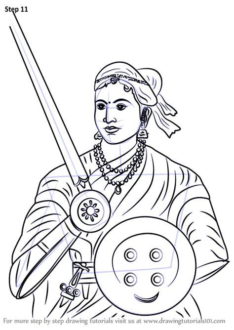 learn   draw rani  jhansi  people step