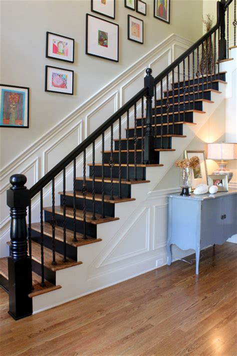 painted black risers traditional staircase