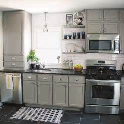 Grey Kitchen Cabinets with Beige Floor