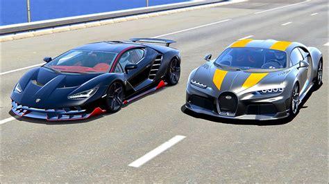 I had the opportunity to film not 1, but 2 bugatti veyrons during a great supercar event. Bugatti Chiron Super Sport 300+ vs Lamborghini Centenario - Drag Race 20 KM - YouTube