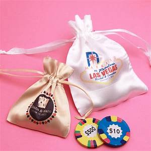 casino personalized satin drawstring favor bag las vegas With vegas wedding party favors