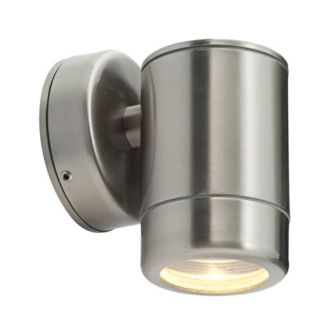 brushed stainless steel clear glass outdoor wall light