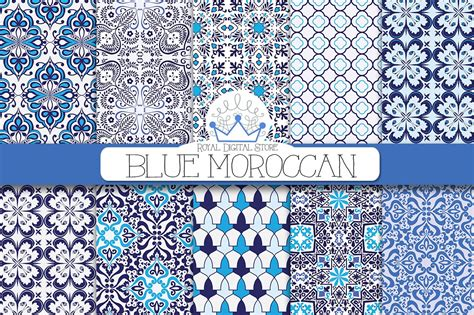 blue moroccan digital paper graphic patterns creative