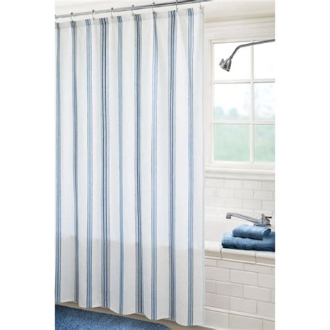 blue and white pin stripe curtain for shower useful