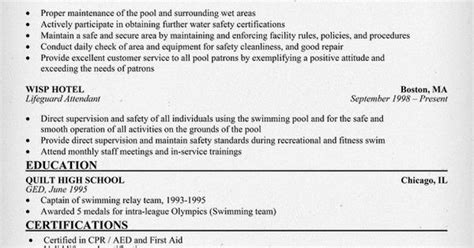Lifeguard Resume Sle by Balhan Quentin Resume Usa Lifeguard Groundskeeper