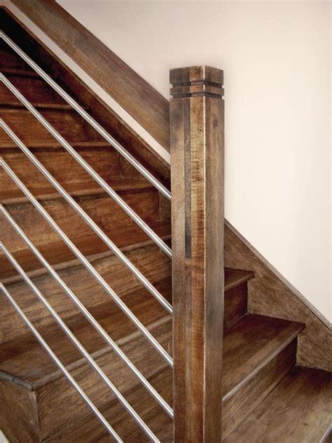 horizontal stainless steel wood handrail