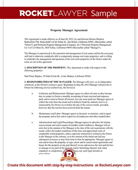 property management agreement form  template