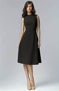 black sleeveless flared cocktail dress nis62n With robe manche
