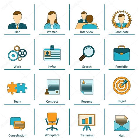 human resources flat icons set stock vector