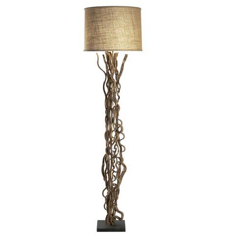 Rustic Natural Vine Burlap Floor Lamp  Kathy Kuo Home