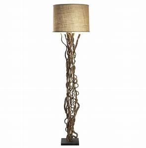 Rustic natural vine burlap floor lamp kathy kuo home for Rustic star floor lamp