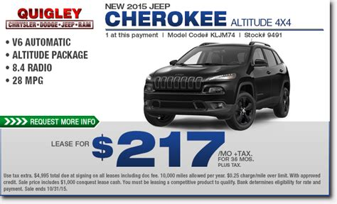 New 2015 Jeep Cherokee Specials  Low Payment Lease