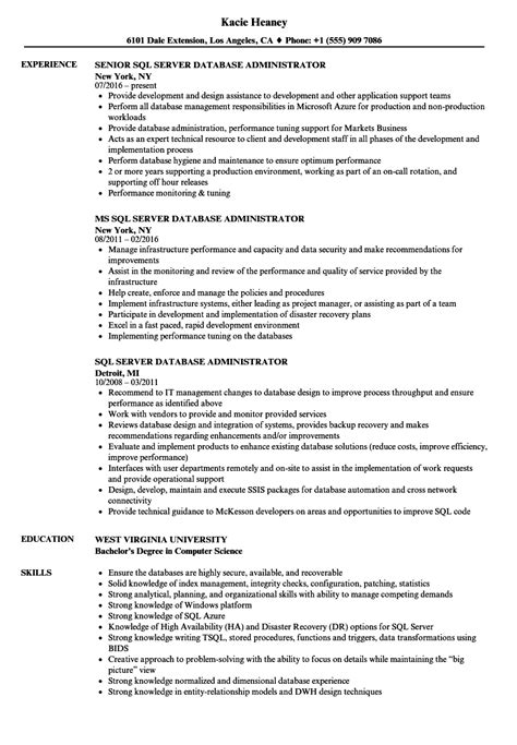 database administrator resume template ideasplataforma